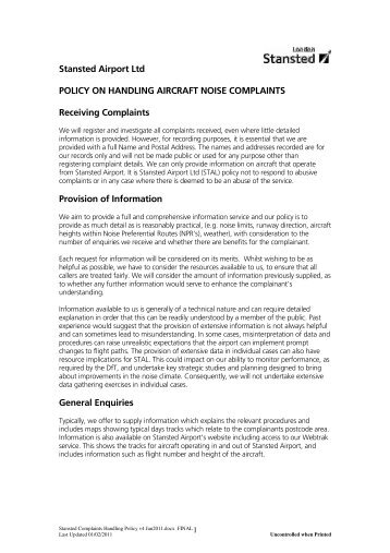 Read our noise complaints policy - London Stansted Airport