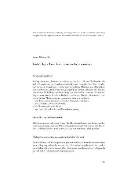 Girl's Day – Eine Institution in Gelsenkirchen - Arbeiten + Lernen an ...