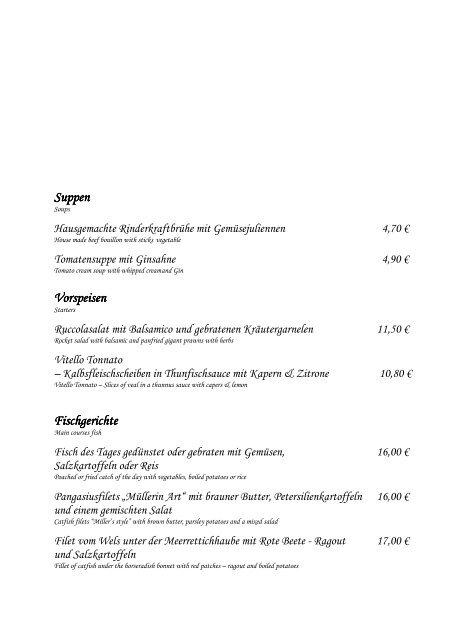 Suppen Vorspeisen Vorspeisen Fischgerichte ... - Hotel Seehof