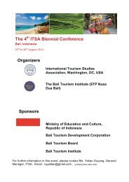 The 4 ITSA Biennial Conference Organizers Sponsors