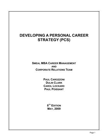Developing personal career strategy - MBA Student Exchange