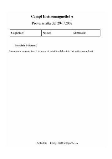 Campi Elettromagnetici A Prova scritta del 29/1/2002