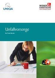 UNIQA: Broschüre Unfallvorsorge für freie Berufe