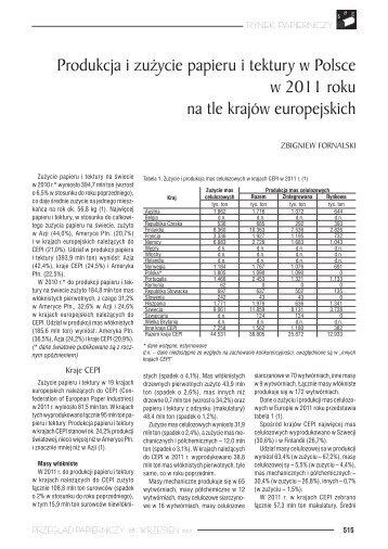 Produkcja i zużycie papieru i tektury w Polsce w 2011 roku na tle ...