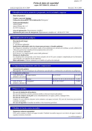 Ficha de datos de seguridad - Voco