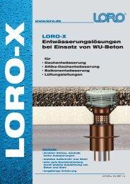 LORO-X Entwässerungslösungen bei Einsatz  von WU-Beton