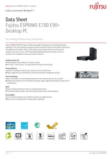 Data Sheet Fujitsu ESPRIMO E700 E90+ Desktop ... - Kinetic Solutions