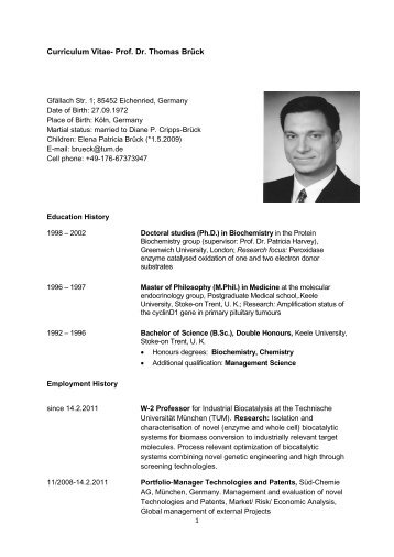 Curriculum Vitae- Prof. Dr. Thomas Brück - Club of Logistics
