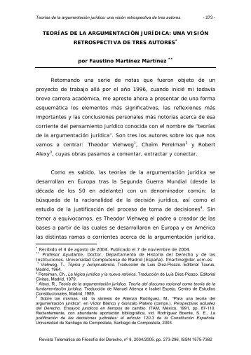 Teorías de la argumentación jurídica - Revista Telemática de ...