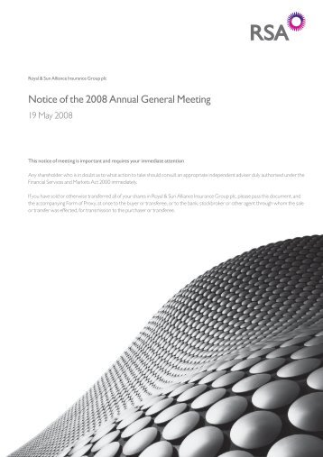Notice of the 2008 Annual General Meeting - Royal and Sun Alliance