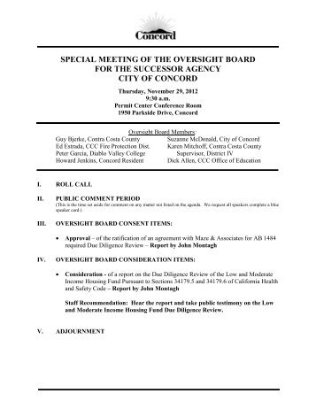 SPECIAL MEETING OF THE OVERSIGHT BOARD ... - City of Concord