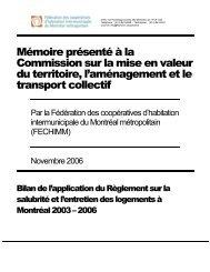 Mémoire sur la salubrité et l'entretien des logements à Montréal