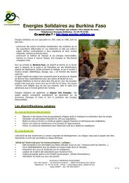 Energies Solidaires au Burkina Faso - Kiagi.org