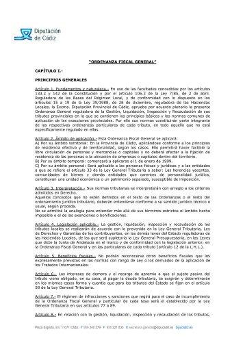 ORDENANZA FISCAL GENERAL - Diputación de Cádiz