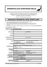 aanvraag erkenning voor sportclubs - Gemeente Malle