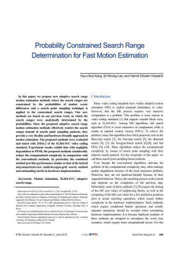 Probability Constrained Search Range Determination ... - ETRI Journal