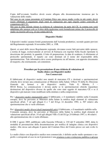 Indagini cliniche con dispositivi medici - Azienda Ospedaliera Santi ...