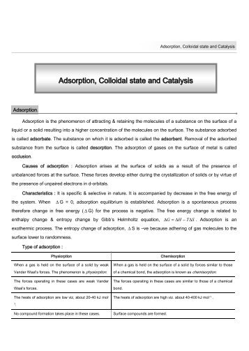 Adsorption, Colloidal state and Catalysis - TestBag