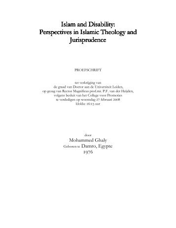Islam and Disability: Perspectives in Islamic Theology and ...