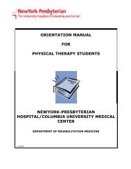 Physical Therapy Student Manual - New York Presbyterian Hospital