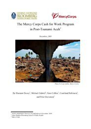 The Mercy Corps Cash for Work Program in Post-Tsunami Aceh