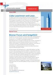 Liebe Leserinnen und Leser, Bremer Forum wird fortgeführt