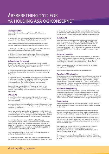 Årsrapport 2012 - yA Bank