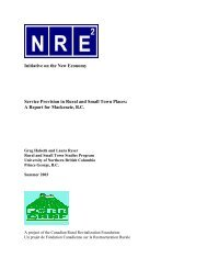A Report for Mackenzie, BC - the New Rural Economy (NRE ...