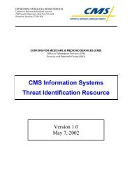 CMS Information Systems Threat Identification Resource