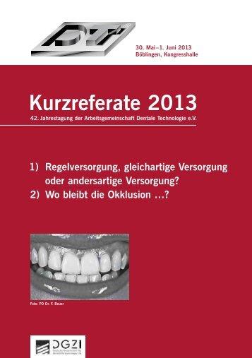 """Download der Broschüre """"Kurzreferate 2013"""" als PDF"""