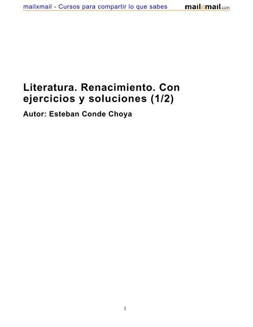 Literatura Renacimiento Con Ejercicios Y Soluciones 1 2