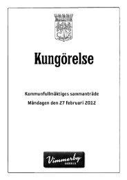 Kommunfullmäktiges sammanträde Måndagen den 27 februari 2012