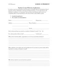 Student Council Election Application - Notre Dame Academy