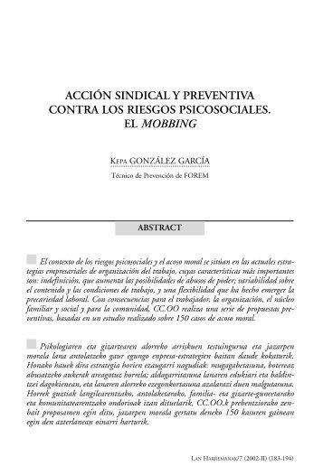 Acción sindical y preventiva contra los riesgos psicosociales. El ...
