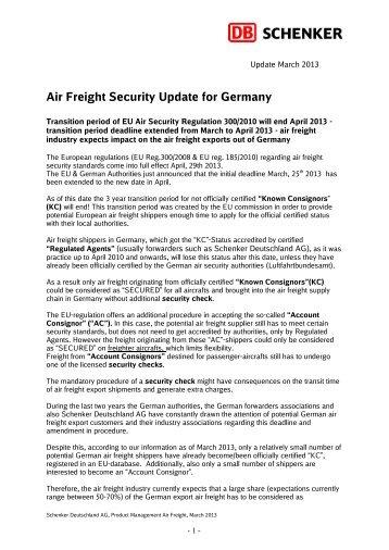 Air Freight Security Update for Germany - Schenker Deutschland AG