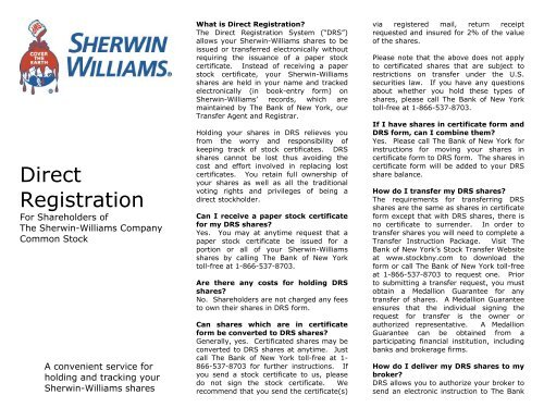 Direct Registration For Shareholders of The Sherwin-Williams ...