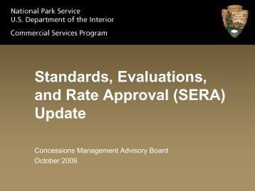 SERA Update and Project Plan - National Park Service Concessions ...