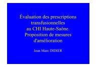 Évaluation des prescriptions transfusionnelles au CHI Haute-Saône