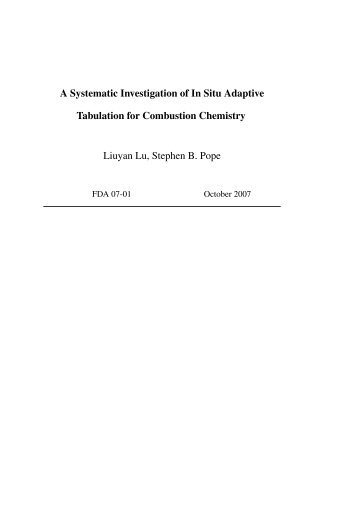 A Systematic Investigation of In Situ Adaptive Tabulation for ...