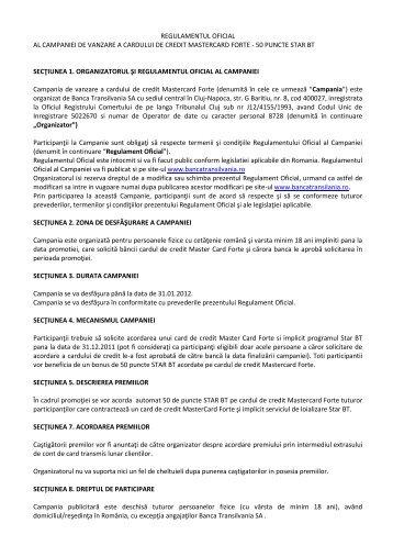 50 puncte star bt secţiunea 1. organizator - Banca Transilvania