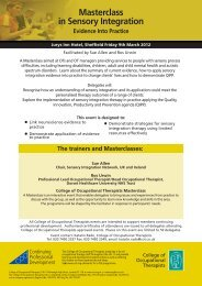 Masterclass in Sensory Integration - College of Occupational ...