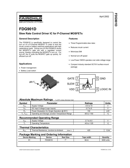 FDG901D Slew Rate Control Driver IC for P-Channel MOSFETs