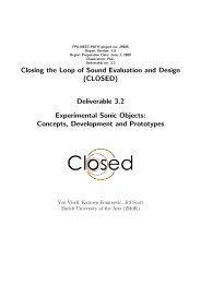 Deliverable 3.2 Experimental Sonic Objects - Closed Project