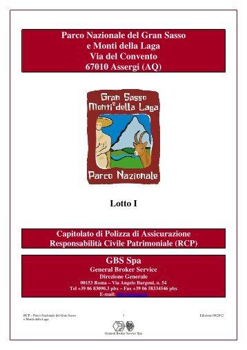 Lotto I GBS Spa - Parco Nazionale del Gran Sasso e Monti della Laga