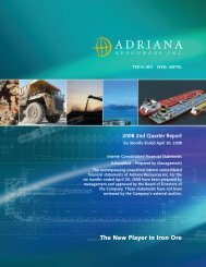 Second Quarter Ended Apr 30, 2008 - Adriana Resources Inc.