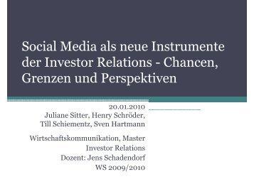 Social Media in Investor Relations - Studium der ...