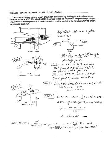 'ENGR 210 - STATICS - EXAM NO. 3 - APR. 09, 2003 -' Student