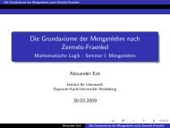 Die Grundaxiome der Mengenlehre nach Zermelo-Fraenkel