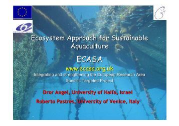 Ecosystem Approach for Sustainable Aquaculture - The ECASA ...