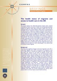 The health status of migrants and access to health care ... - COMPAS